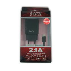 SADA U21 ATX 2,1A NABÍJENÍ 2xUSB + KABEL TYP C black