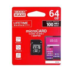 Paměťová karta GOODRAM microSD SD 64GB TŘÍDA 10 UHS I 100MB / s s adaptérem